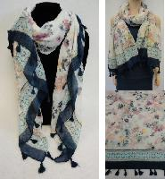Fashion Scarf with Tassel Fringe [Floral]